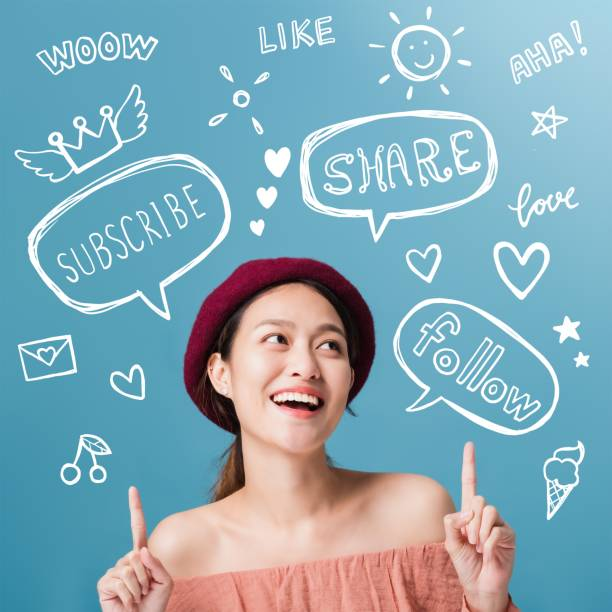 beautiful asian woman blogger is showing hand pointing and smiling with freehand doodle text,bubble speech and decoration drawing graphic.business online influencer on social media concept. - dodatkowa praca zdjęcia i obrazy z banku zdjęć