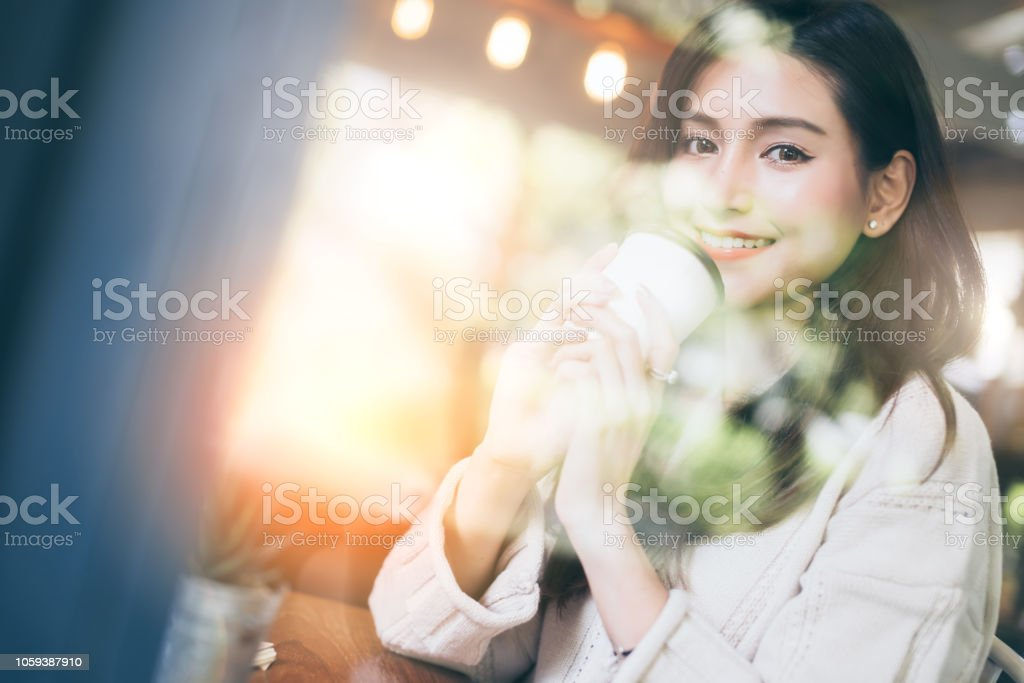 Beautiful Asian Woman Enjoy Hot Drink Morninig Time Near Window In Cafe Shop Lifestyle Ideas Concept Stock Photo Download Image Now Istock