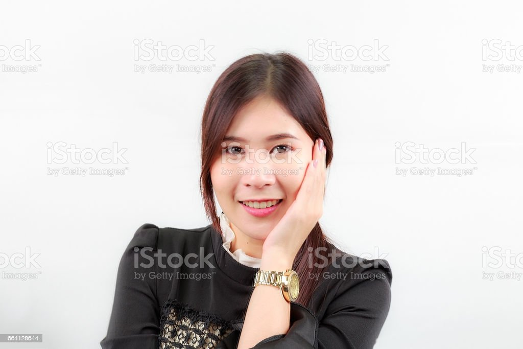 Beautiful Asian woman face portrait with happy smiling, isolated on white background. foto stock royalty-free
