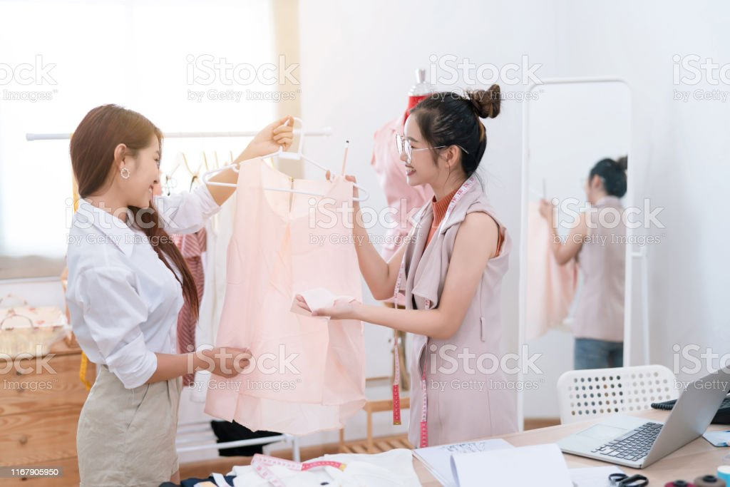Beautiful Asian Woman Fashion Designer Tailor Fabric Working And Sewing Her Drawing Sketches Service Clothes To Customer Creative Design In Studio Tailor Shop Occupation Owner Small Business Concept Stock Photo Download