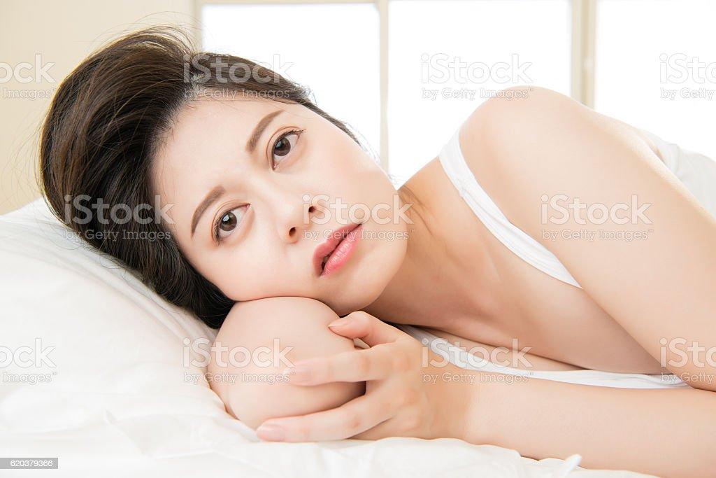 beautiful asian woman feel unwell sickness and ill zbiór zdjęć royalty-free