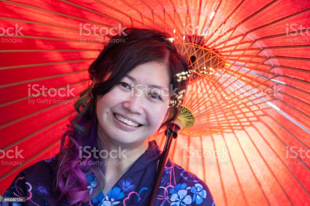 Beautiful asian woman in Kimono stock photo