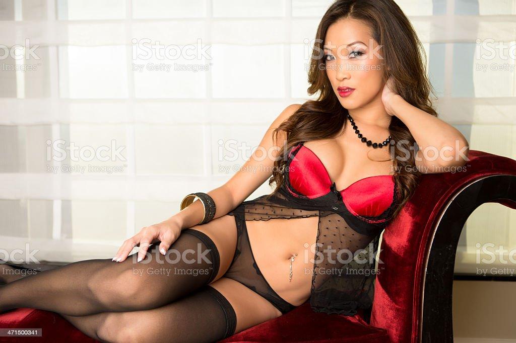 Beautiful asian woman in lingerie stok fotoğrafı