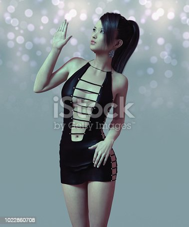 1137329370istockphoto Beautiful Asian woman in sexy leather dress 1022860708