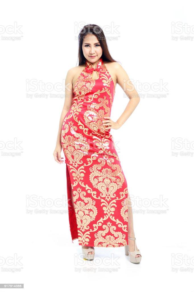 d6650c28a48de2 Mooie Aziatische Vrouw In Traditionele Rood Chinees Jurk Kant Split ...