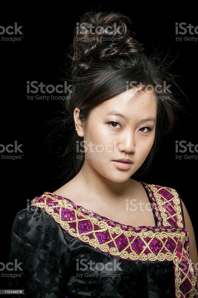 Beautiful Asian Woman in Traditional Vietnamese Dress royalty-free stock photo