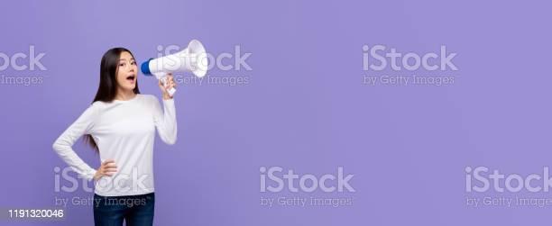 Beautiful asian woman talking on magaphone picture id1191320046?b=1&k=6&m=1191320046&s=612x612&h=ab4oifc ndhkhclxq2bhdmtatb8jihgwxlf57aqsfyk=