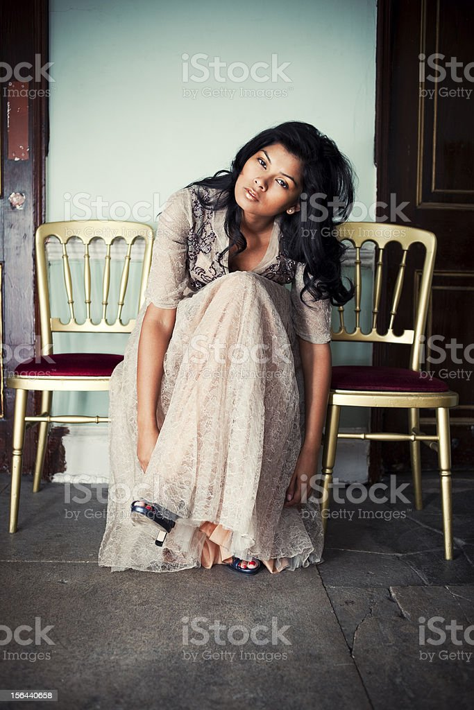 Beautiful Asian Woman, Victorian Interior stock photo