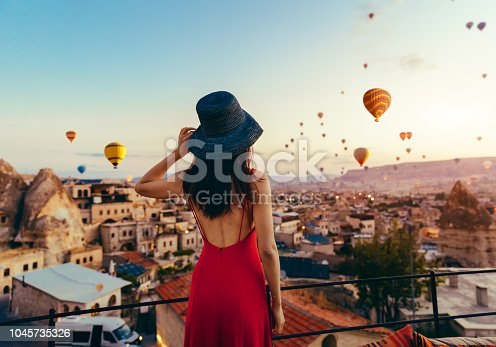 Woman, Hot Air Balloon, Sunset, Turkey - Middle East, Cappadocia, Air Vehicle