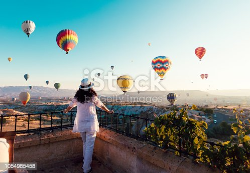 Woman, Hot Air Balloon, Sunrise - Dawn, Asia, Cappadocia