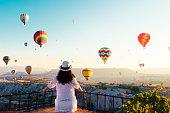 Woman, Hot Air Balloon, Sunrise - Dawn, Asia, Cappadocia