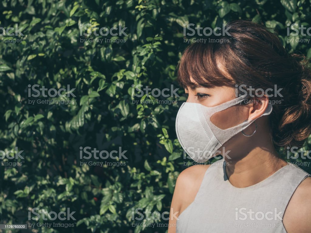 Wearing White Mask Beautiful Protective Asian Stock N95 Woman