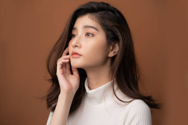Beautiful asian woman with a beautiful face stock photo