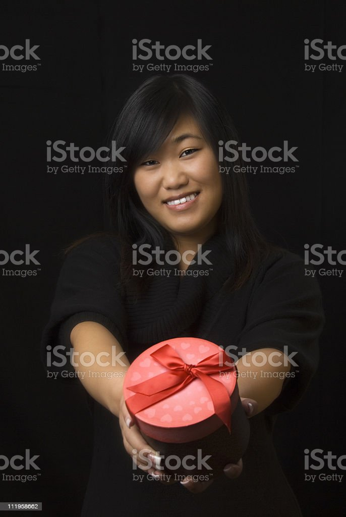 Beautiful Asian Woman With Valentines Day Gift Box Stock