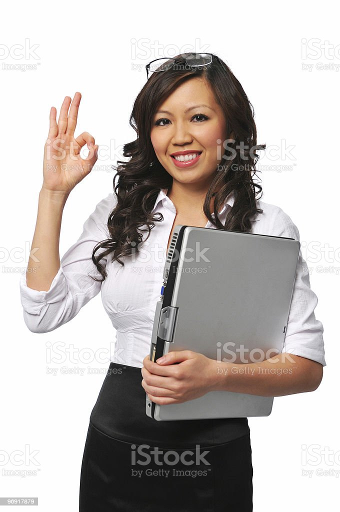 Beautiful asian young woman with laptop royalty-free stock photo