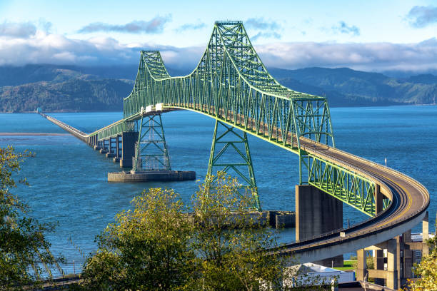 Beautiful Astoria Megler Bridge View stock photo