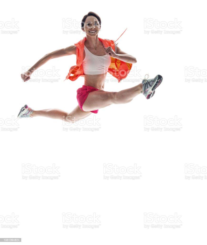 Schöne Sportliche Frau Mit Gespreizten Beinen Springen Stock