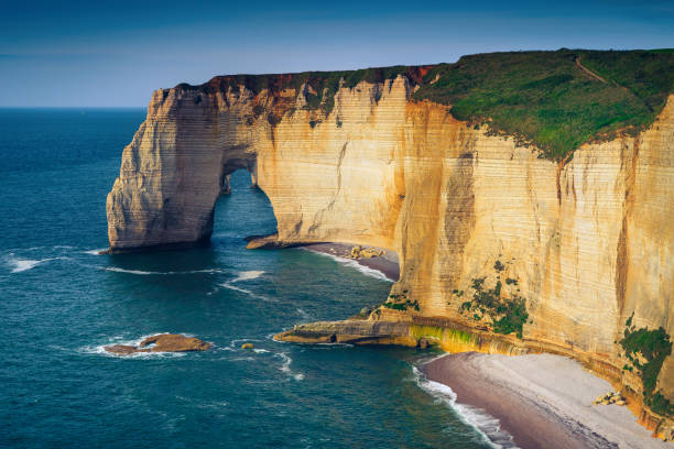 Beautiful Atlantic ocean coastline with spectacular cliffs, Etretat, Normandy, France stock photo