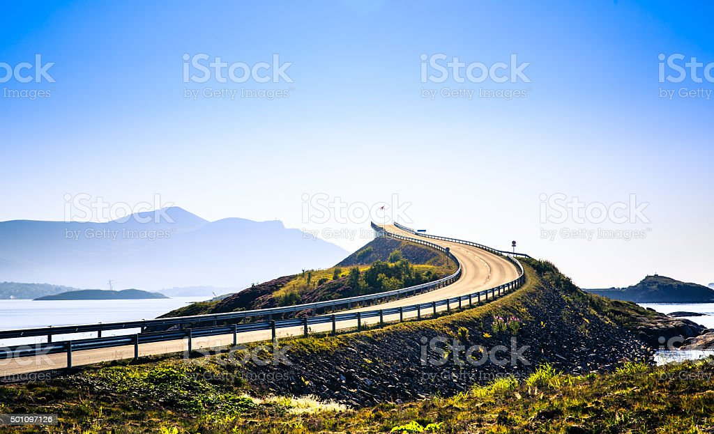 Beautiful Atlantic road . stock photo