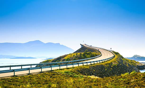 Beautiful Atlantic road . stock photo