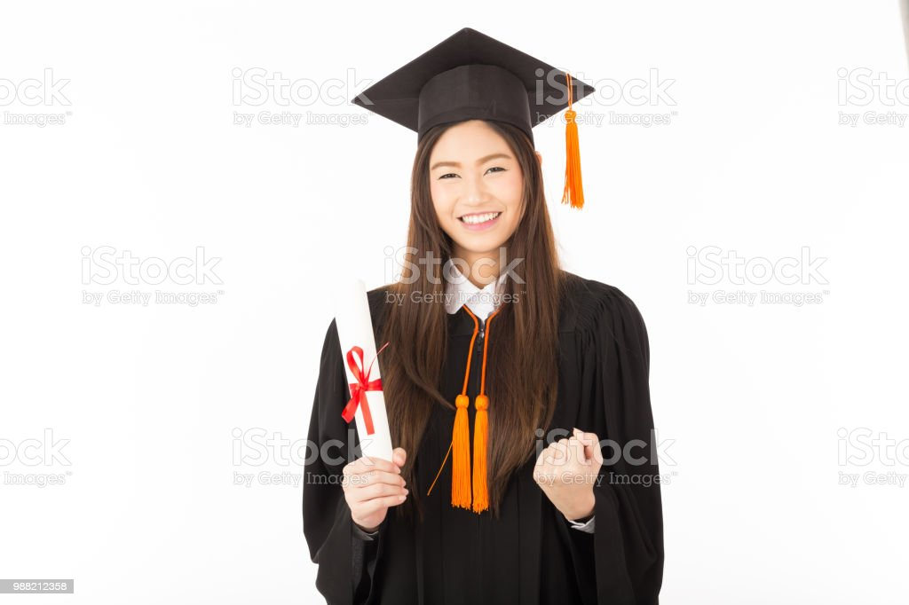 Beautiful Attractive Graduated Asian Woman In Cap And Gown Smile And ...