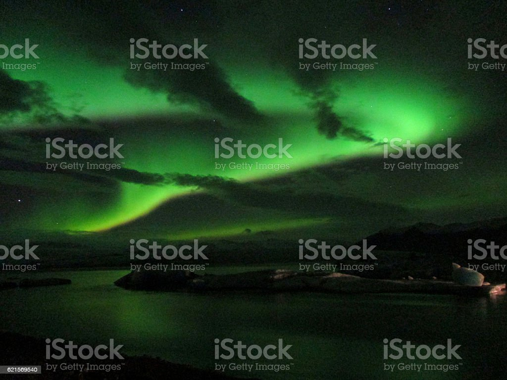 Beautiful Aurora Borealis Dancing in the Night Sky over Jokulsarlon photo libre de droits
