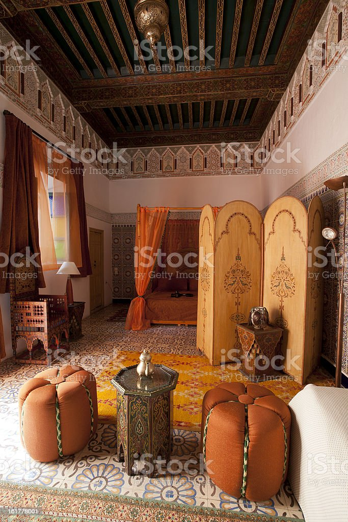 Beautiful authentic arabic bedroom in Marrakech Morocco stock photo