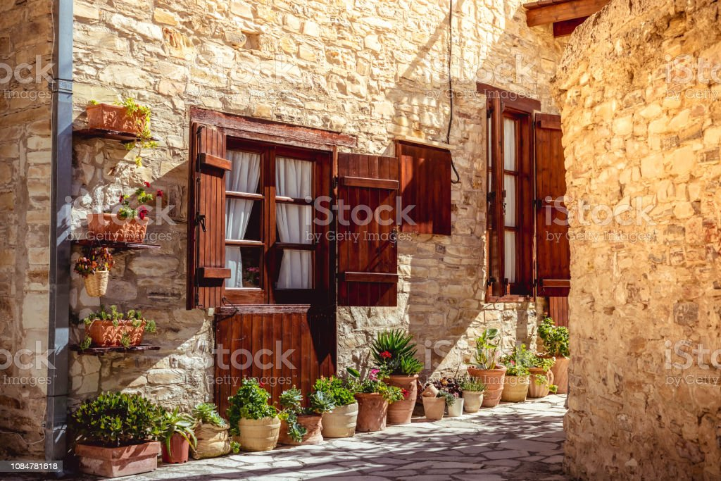 Beautiful authentic cypriot house. Kato Lefkara village. Larnaca District, Cyprus stock photo