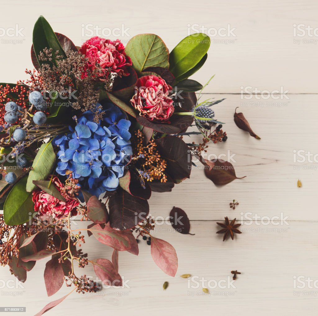 Beautiful Autumn Bouquet Composition Of Dried Meadow Flowers And