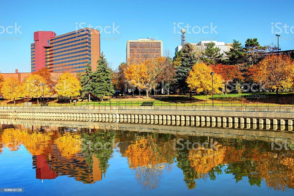 Beautiful Autumn colors in Downtown Flint Michigan stock photo