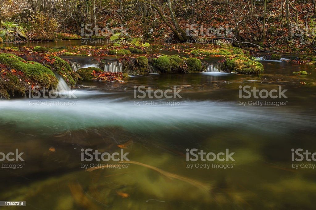 Beautiful autumn foliage and waterfalls in the forest royalty-free stock photo