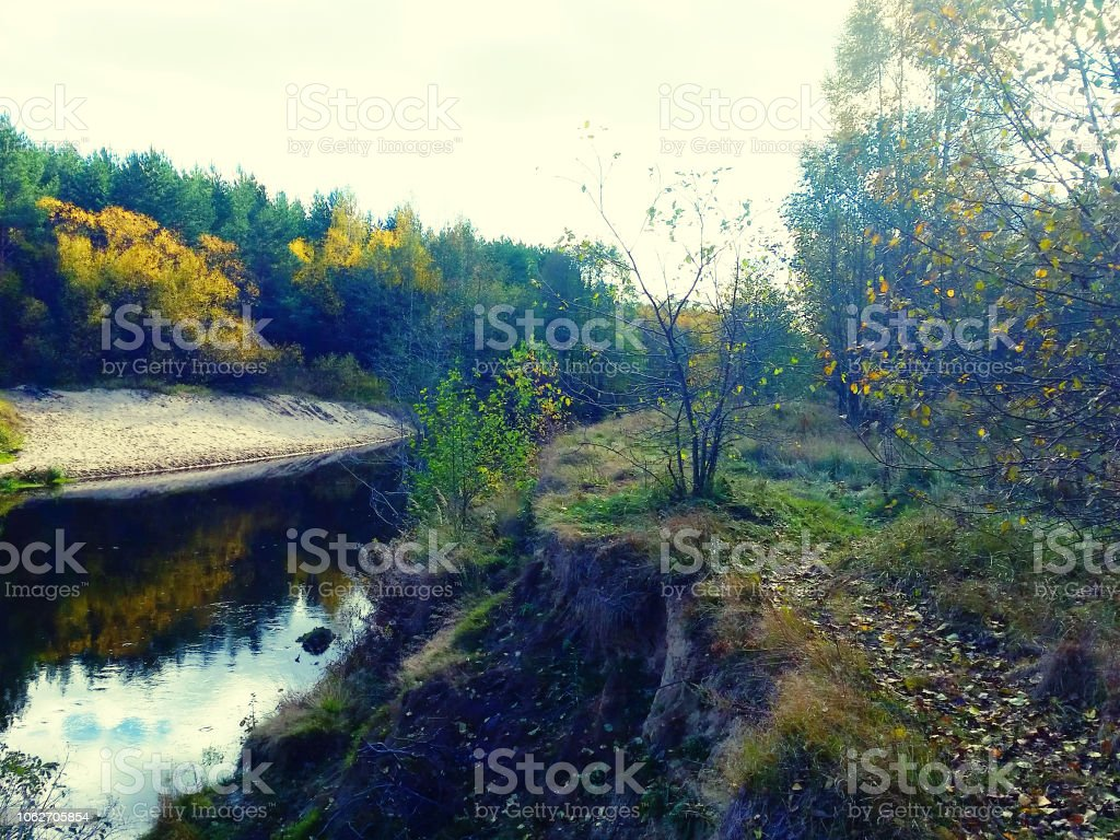Beautiful Autumn Forest River Landscape Stock Photo