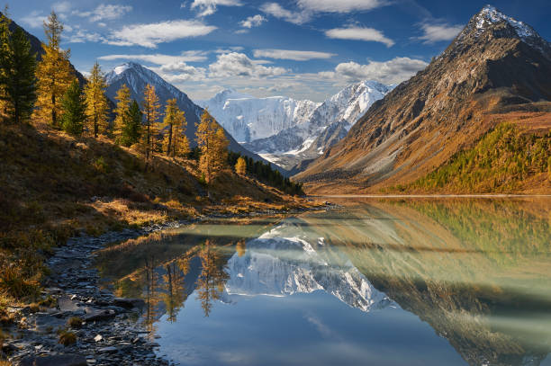 beautiful autumn landscape, altai mountains russia. - altai nature reserve стоковые фото и изображения