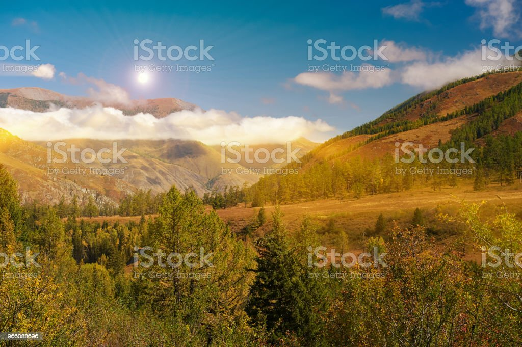 Mooi herfst landschap, Altaj Rusland. - Royalty-free Avondschemering Stockfoto
