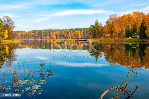 Reflections of Autumn. Beautiful Autumn landscape with lake and calm water, forest with yellow, orange and green trees, October and November background