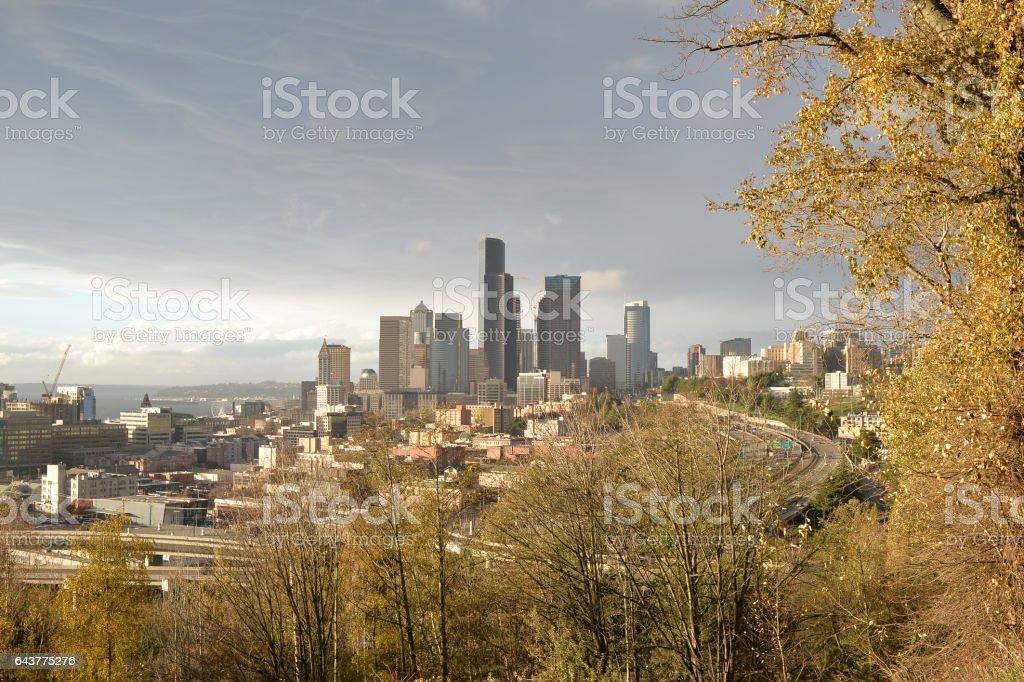 Beautiful Autumn Sunlights on Seattle Dowtown stock photo