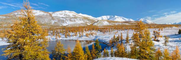 Beautiful autumn view of the valley of the river Yasandya. Oymyakon. Yakutia.