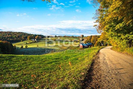 488912426istockphoto Beautiful autumnal rolling rural landscape at sunrise 1193388338