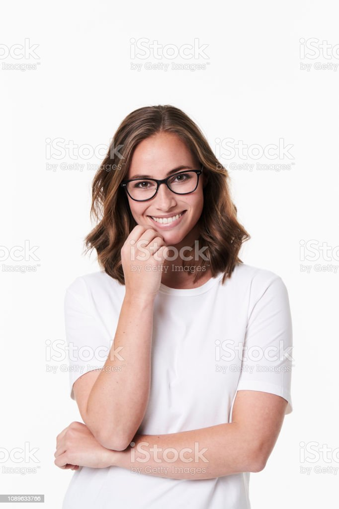 Beautiful babe in specs Beautiful babe in spectacles, portrait 30-34 Years Stock Photo
