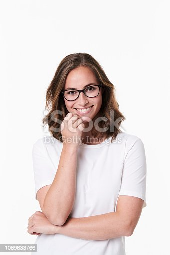 Beautiful babe in spectacles, portrait