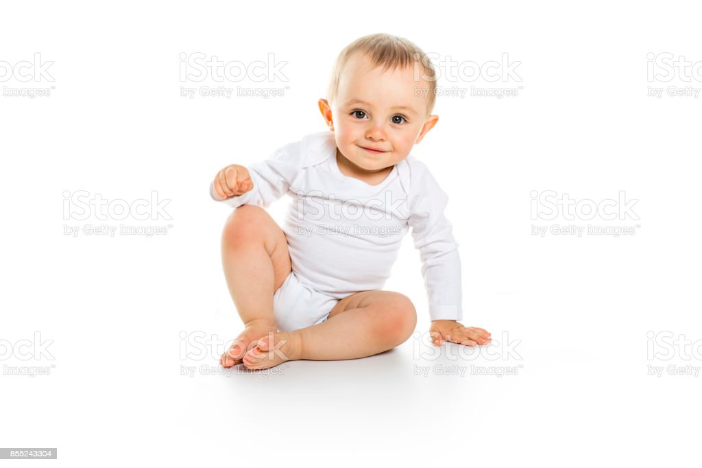 beautiful baby boy on white background stock photo