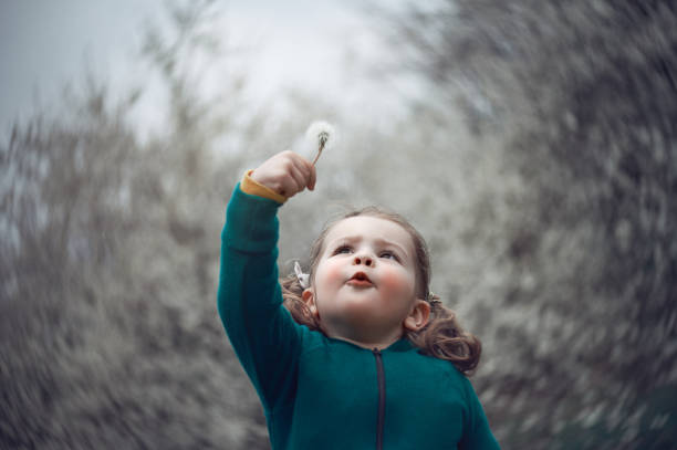 Beautiful baby girl in a fairytale stock photo