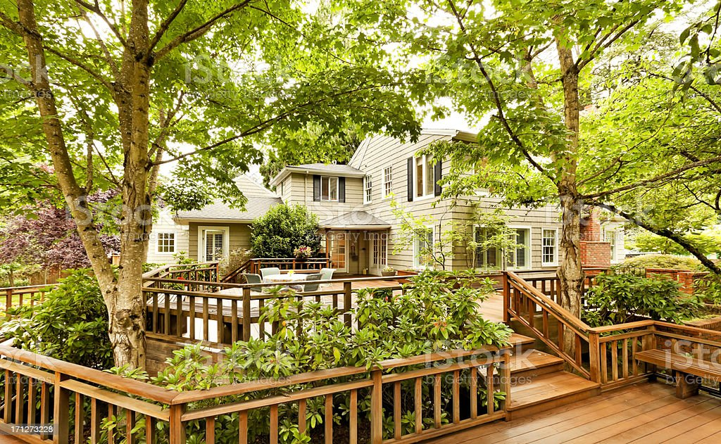 Beautiful Back Deck stock photo
