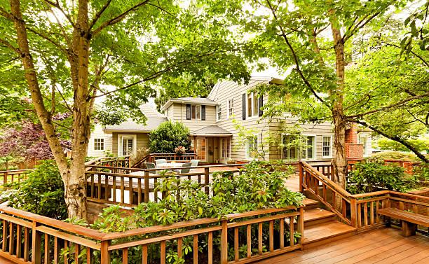 Beautiful Back Deck stock photo