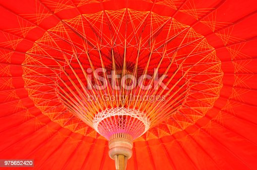 istock Beautiful background /Thai original tradition umbrella , Under view of hand craft clothes umbrella structure of Noth Thailand made from bamboo wood and Line thread . 975652420
