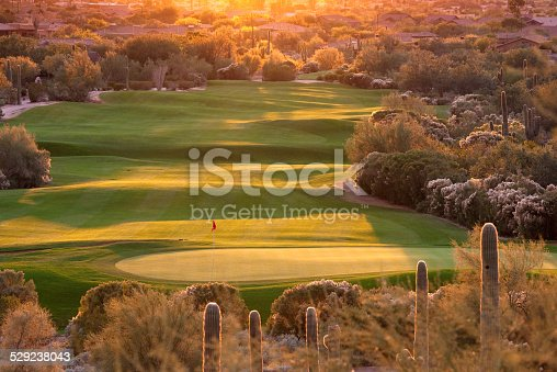 A beautiful desert golf course backlit. Phoenix, Arizona. Golf in the Scottsdale, Phoenix, and Mesa region - which some people refer to as The Valley of the Sun - is one of the world's great golf destinations. There are, literally, a couple of hundred courses in this area. Many feature beautiful contouring and shaping and are routed through rugged desert terrain with cacti and beautiful natural surroundings.