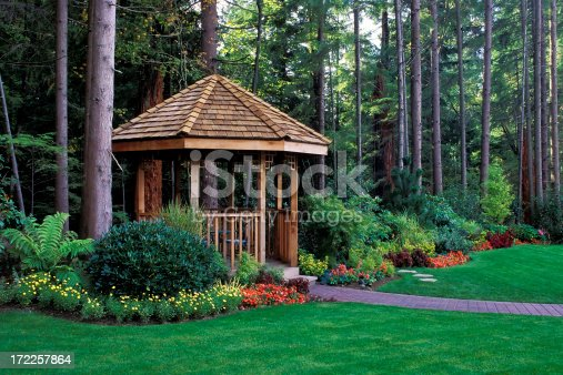 cedar gazebo backyard garden