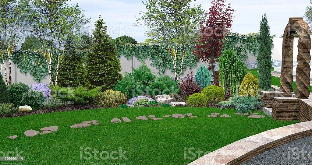 Beautiful backyard makeovers, 3d illustration – Foto