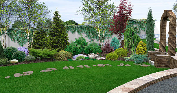 beautiful backyard makeovers, 3d illustration - garten ideen wege stock-fotos und bilder