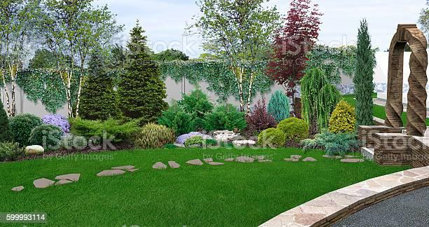 Foto De Beautiful Backyard Makeovers 3d Illustration E Mais Fotos De Stock De Ajardinado Istock